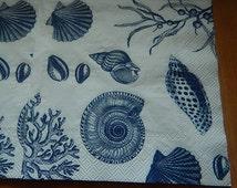 Four Seashells Dinner Napkins Seashore Blue and White Decoupage Altered Art Collage Mixed Media