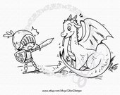 The Dragon and the Knight DIGITAL STAMP Instant Download