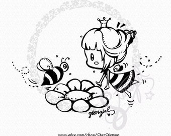 Spring Bumble Bee DIGITAL STAMP Instant Download