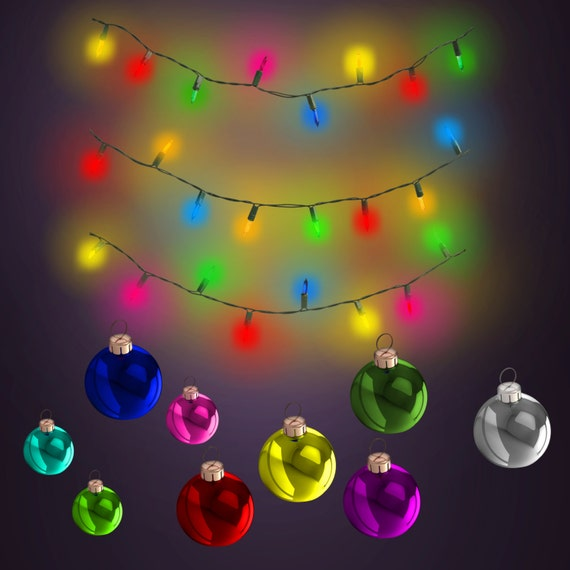 Commercial Use Instant Download Fancy Christmas Holiday String Lights and Ornaments Clipart for ...