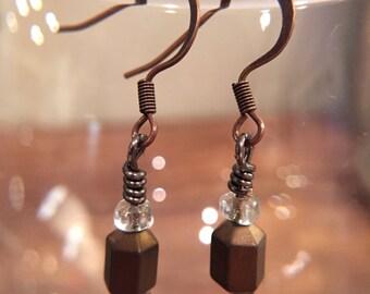 Dainty Bronze Drop Earrings