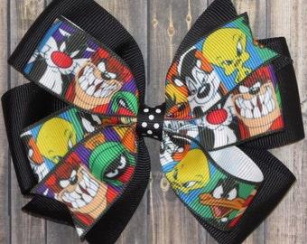 Looney Tunes Hair Bow / Looney Tunes Bow / Bugs Bunny / Daffy Duck / Tweety Bird / Tasmanian Sevil / Selvester / Looney Tunes
