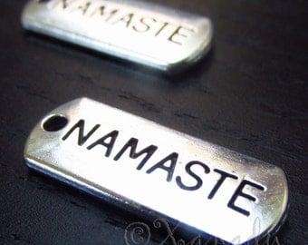 Namaste Charms - 10/20/50 Wholesale Yoga Antiqued Silver Plated Pendants C3152