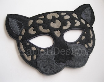 ITH Jaguar Mask Machine Embroidery Design Pattern Download 5x7 6x10 In The Hoop Halloween Costume Leopard Cat Animal