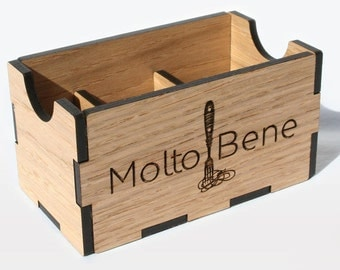 Wood Divided Sugar Holder, customize our sugar caddy with your Restaurant, Café or B&B logo