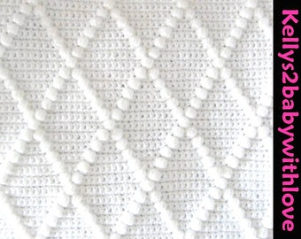 Crochet Diamond Bobble Baby Blanket - Choice of Colours - Handmade - Nursery