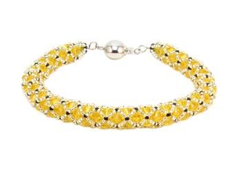 Light Topaz Netted Swarovski Crystal Bracelet, Yellow Crystal Bracelet, Swarovski Crystal Bracelet, Sunshine Yellow Bracelet, FREE SHIPPING
