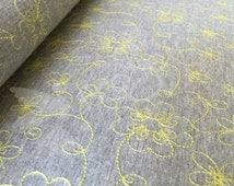 Jersey Fabric, Cotton Polyester Blend knit, Yellow flower Embroidery, fabric by the half yard