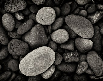 Beach Photography, Pacific Coast, Stoney Beach, Nature, Fine Art, Black and White Photography, Home Decor, Wall Art