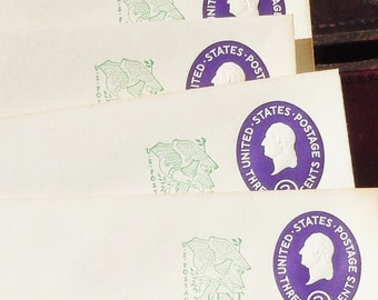 Post-Paid Embossed Envelopes /  4 cents Postage on each / Total of 4 / Embossed 3 cents and green 1 cent stamp