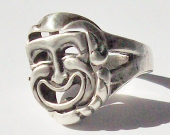 Theatrical Pivoting Ring / Comedy or Tragedy / Changeable Vintage Statment Ring
