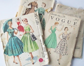 Sewing Pattern / 1950's Full Style Dresses / Normal Size / Interesting construction information on this style / slip pattern