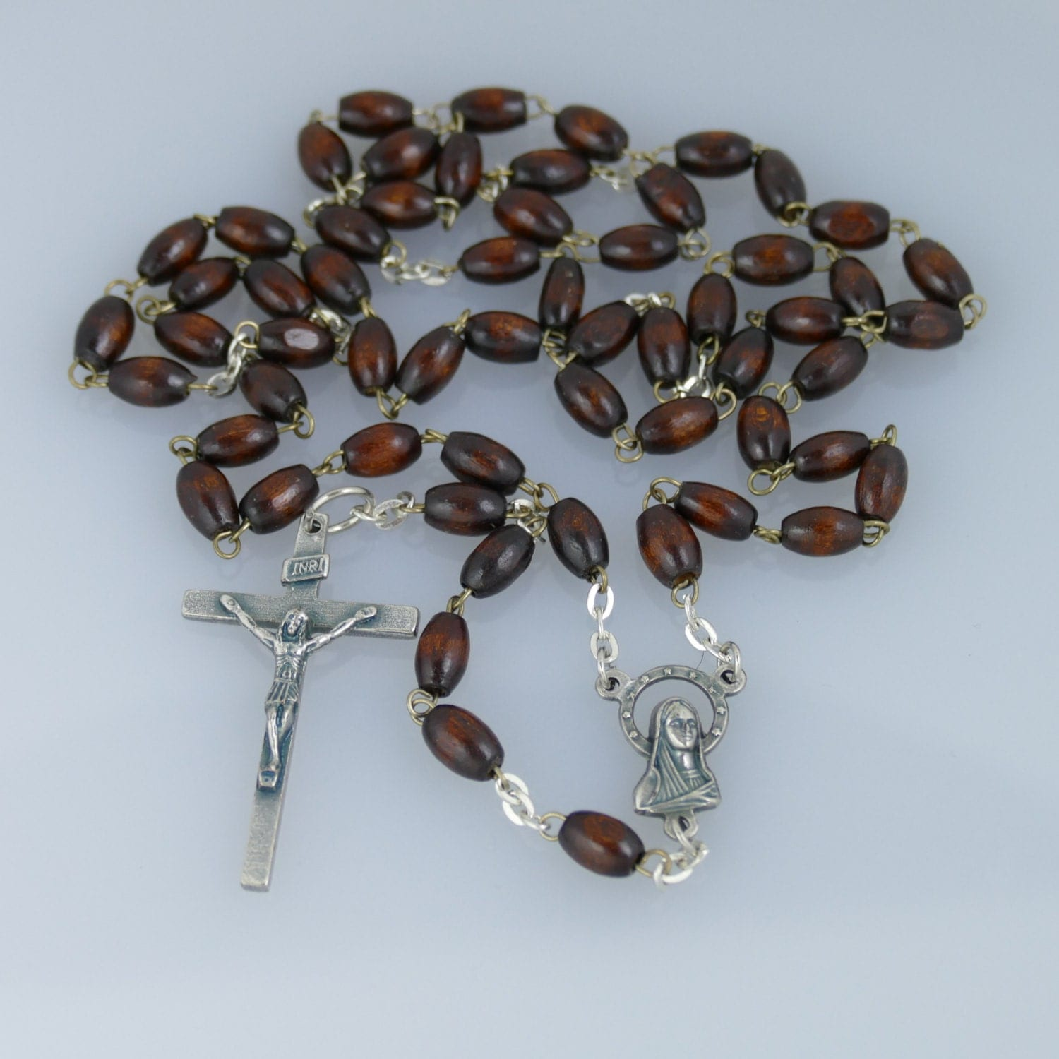 wood bead rosary necklace by pithuahua on etsy