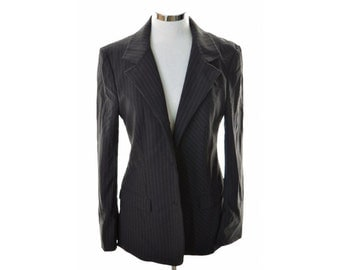 Versace Womens Blazer Jacket Size 44 Medium Black Polyamide Elastane Viscose