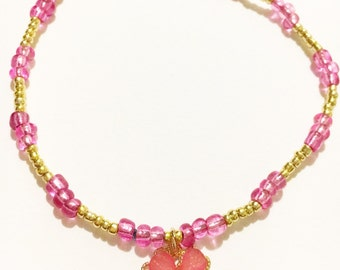 Simple Pink & Gold Anklet with Flower Charm/Girly/Anklet/Summer/Hippie