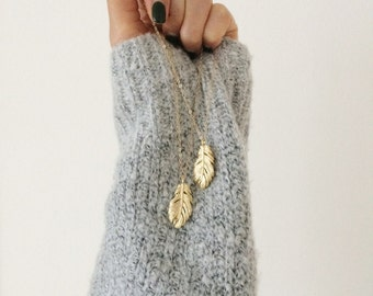 Feather Long Necklace/Gold Dainty Charm Necklace/14K Gold Filled Chain Everyday Necklace