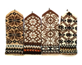 Beige Brown White Knitted Mittens Hand Knitted Wool Mittens Wool Gloves Warm Winter Mittens Winter Gloves Patterned Mittens Latvian Mittens