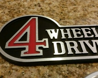Aluminum Retro Toyota 4 Wheel Drive Badge