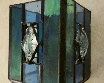 Blue Stained Glass Candle Holder: Square Handmade Votive Candle Holder