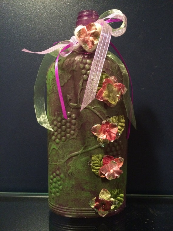 Items similar to clearance on sale hand painted wine for Purple wine bottles for sale