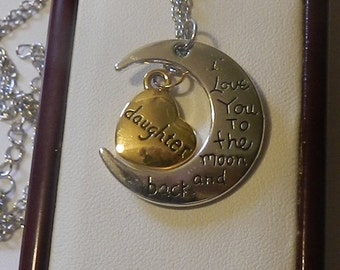 CIJ SALE Love you to the moon Daughter Crescent Pendant V4556 ready to ship