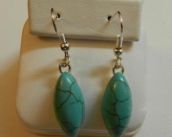 Magnesite Blue Oblong  earrings  V1