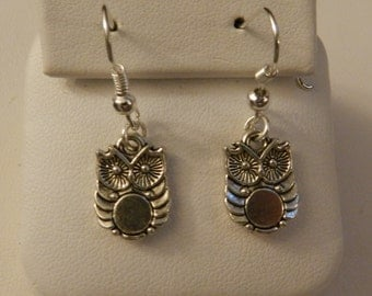 Cute Little Owl Silver earrings V4