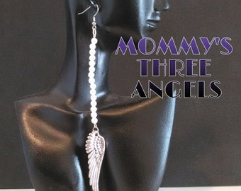Pearls and Angel Wings/ Angel Wing Dangle Earrings READY TO SHIP