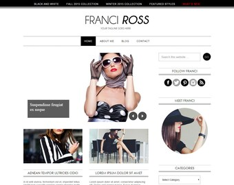 Genesis WordPress Theme – Franci Ross – Fashion Lifestyle -  Premade WordPress blog design - black and white – Mobile Responsive - SEO ready
