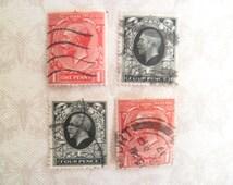 20 Vintage British King George V Postage Stamps One Penny or Four Pence Red Black Craft Travel Vintage Stamps Scrapbooking Altered Art JA
