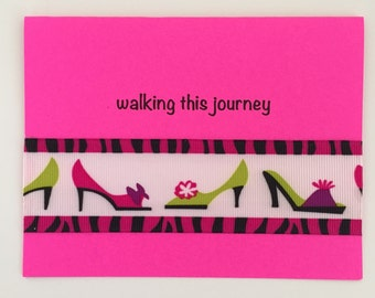 Handmade Encouragement Card -  Cancer Diagnosis, Trials, C is for Courage,  Shoe Ribbon. Cope.