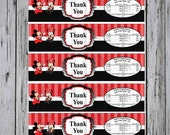 Minnie and Mickey Gender Reveal Water Bottle labels- Custom Water Bottle Labels- Minnie Mouse- Mickey Mouse- Disney Gender Reveal-Red Minnie