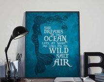 Mermaid Art Print Poster - She Dreams of the Ocean INSTANT DOWNLOAD 8x10 inches - Wall Art Printable, Inspirational Print, Home Decor, Gift