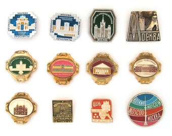 Moscow, Badge, Modern Buildings and Avenues, Ostankino, Landmarks, Museum, Set, Soviet Vintage metal collectible pins, Made in USSR