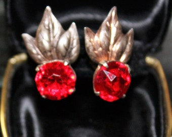 Vintage Sterling Silver TROPICAL LEAF Ruby Red Stone EARRINGS