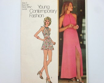 Simplicity 5372 ~ Seventies' Halter Dress with Front Slit and Drawstring Neckline and Short Shorts SIZE 7 UNCUT 1972 Sewing Pattern