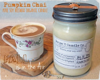 soy wax candle No.30 The Craftsman - PUMPKIN Chai scented soy beeswax candle with essential oils, natural organic candle, fall scent, eco