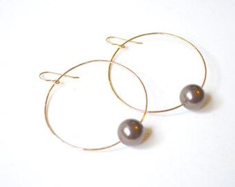 Pearl Hoop Earrings Gold, Large Gold Hoop Earrings, Swarovski Pealr Earrings, Large Pearl Hoops, Single Pearl Hoops