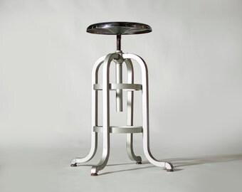 Vintage Industrial Machine Age Aluminum Chrome Goodform Stool (Tall #1)