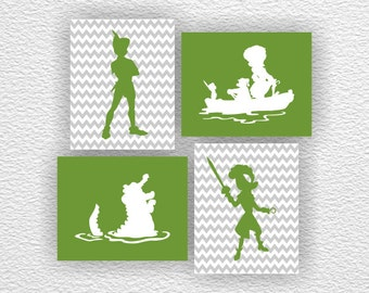 Disney silhouette, Green and Gray Peter Pan Silhouette, Captain Hook Stencil, Chevron, Peter Pan Set of 4, 8x10, Peter Pan INSTANT DOWNLOAD
