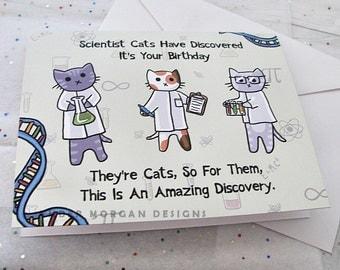 Funny Cat Card Birthday Card Cute Greeting Card Science Kittens Nerdy Card Geek Card Happy Birthday Kid Birthday Child