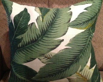 """SALE:  Decorator 20"""" X 20"""" Bahama inside outside medium weight pillow cover green waving Leaves"""