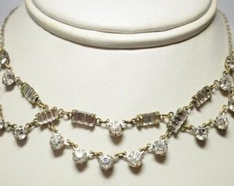 Vintage Art Deco Swag Rhinestone Paste Necklace