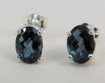 London Blue Topaz Post Earrings in Sterling Silver, London Blue Topaz Jewelry, 7x5 Topaz Gemstone, December Birthstone, Topaz Stud Earrings
