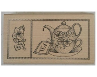 Steeping Tea Rubber Stamp - 181M04
