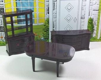 "MARX DINING ROOM, Marxie Mansion, 3/4"" Scale, 1950's, Hard Plastic, Vintage Tin Dollhouse Furniture"