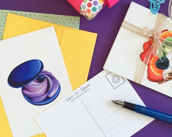 Postcards Set / Set of 5 Postcards / Art Postcards / Dessert Postcards / Cupcake Art / Cupcake Postcards / Macarons / Stationery / Notecards