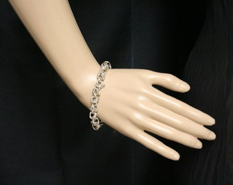 Sterling silver byzantine weave chainmaille bracelet.