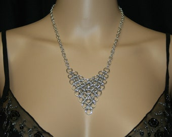 Aluminum chainmaille necklace.