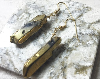 Bohemian Gold Crystal Earrings--Summer Earrings-- Edgy Earrings